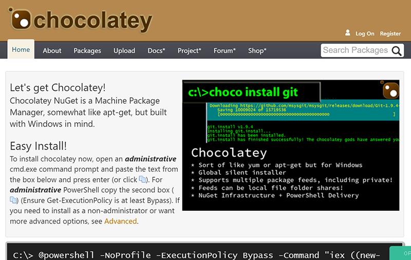 chocolatey ADB 環境 構築