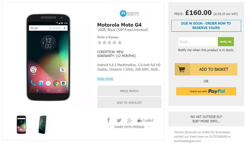 HandtecでMotorola Moto G4の購入予約受付がスタート