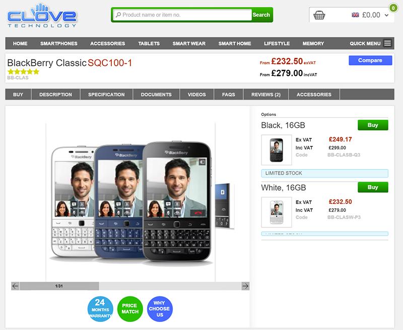 BlackBerry ClassicがCloveで格安価格で販売中