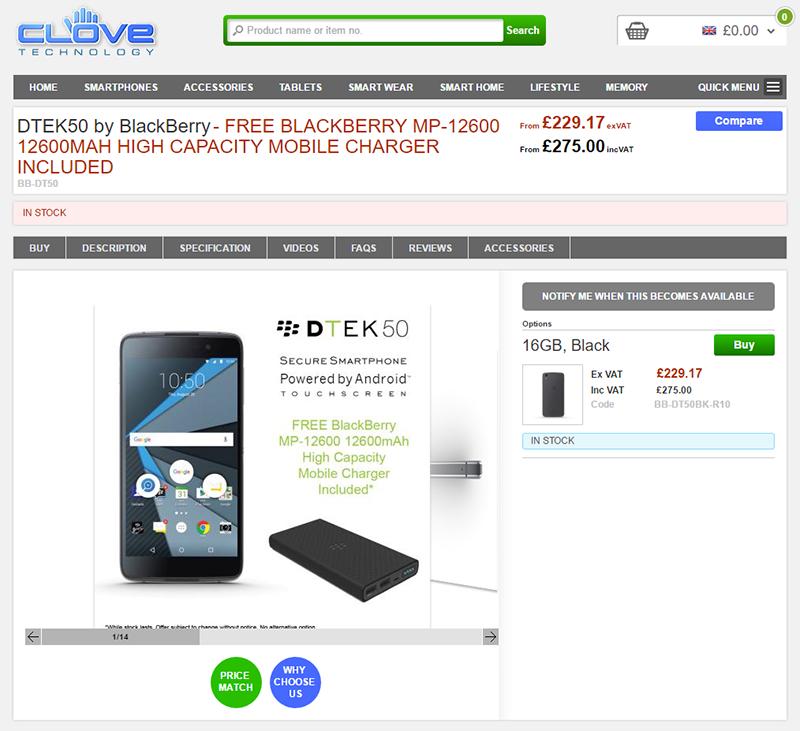 CloveでBlackBerry DTEK50の販売がスタート