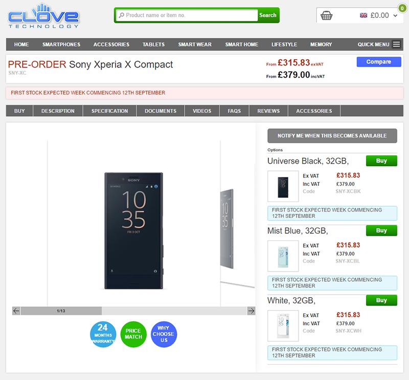 CloveでSONY Xperia X Compactの購入予約受付がスタート