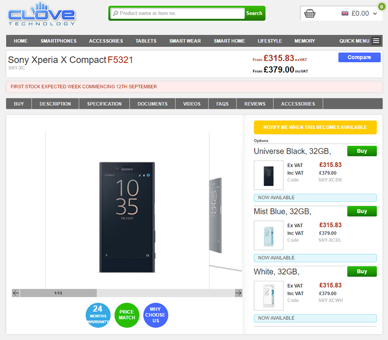 CloveでSONY Xperia X Compactの販売がスタート