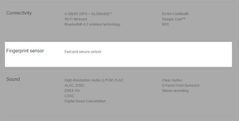 Sony Mobile Communications UKの製品ページ