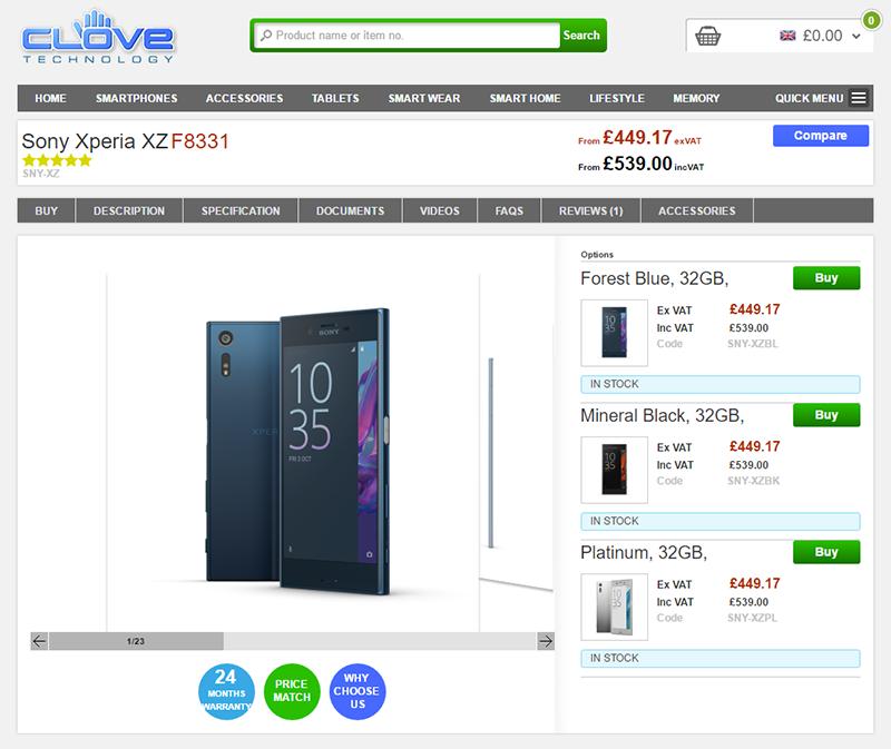 CloveでSony Xperia XZ F8831の販売がスタート