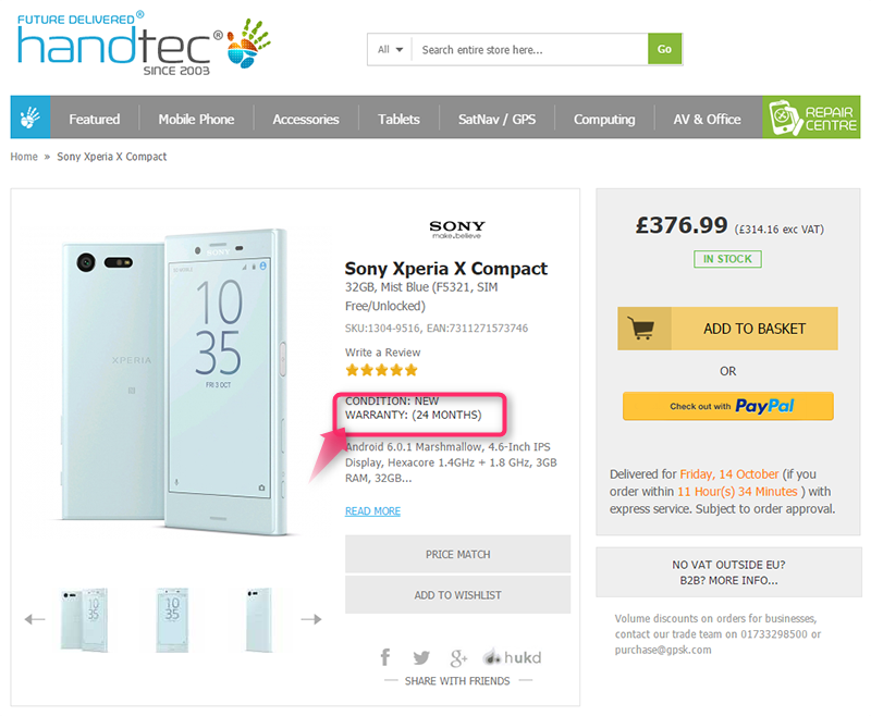 HandtecでSony Xperia X Compactの販売がスタート