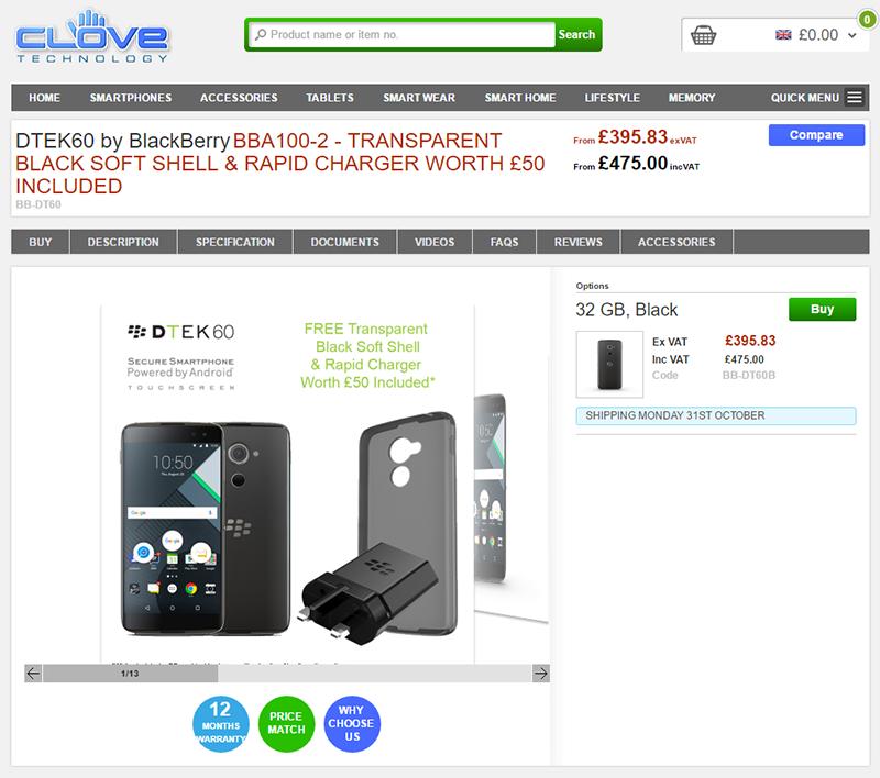 CloveがBlackBerry DTEK60の購入予約を受付中