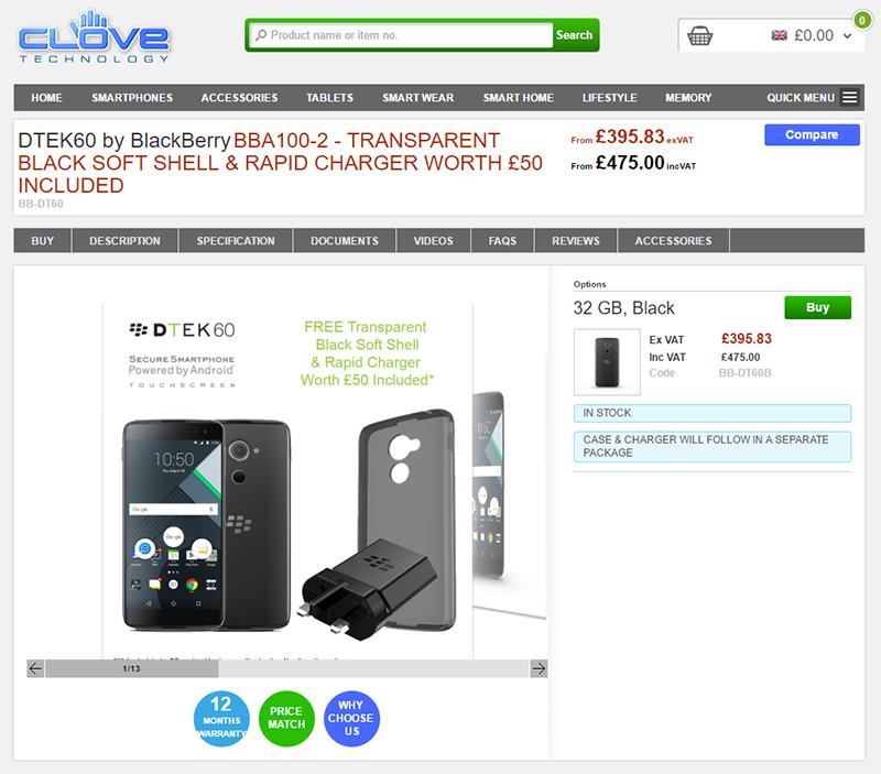 CloveでBlackBerry DTEK60の販売がスタート