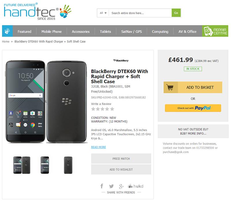 HandtecがBlackBerry DTEK60の販売を開始