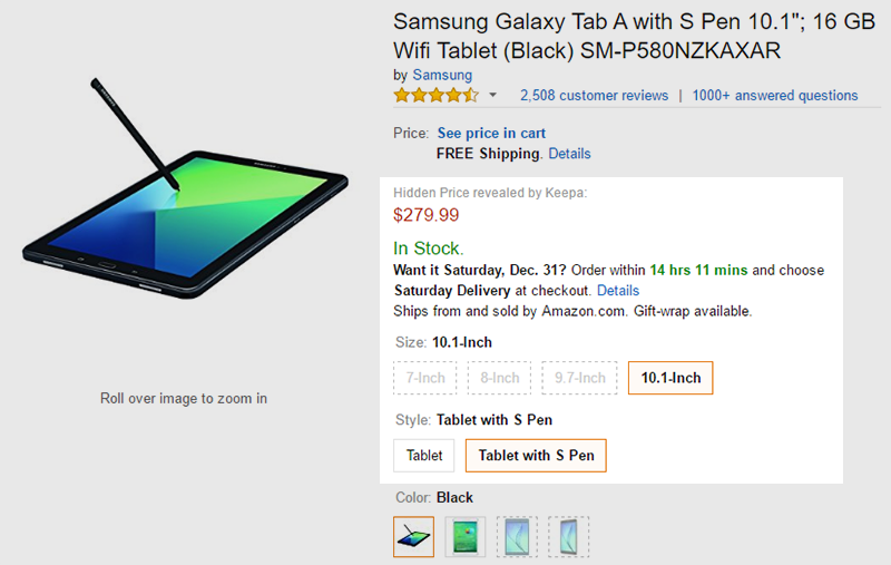 Amazon.com Galaxy Tab A with S Pen 商品ページ