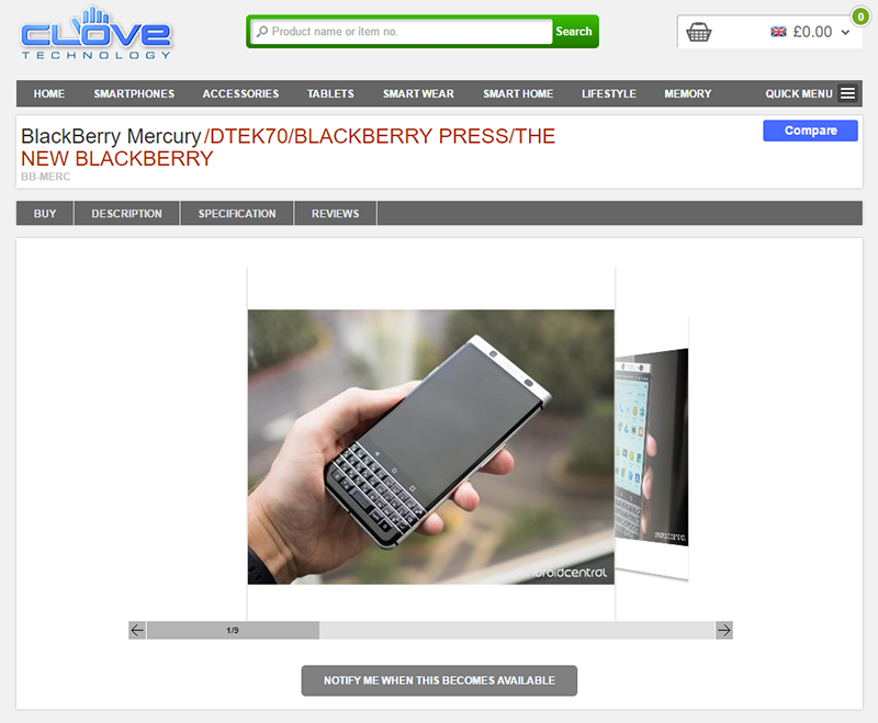 Clove BlackBerry Mercury 商品ページ