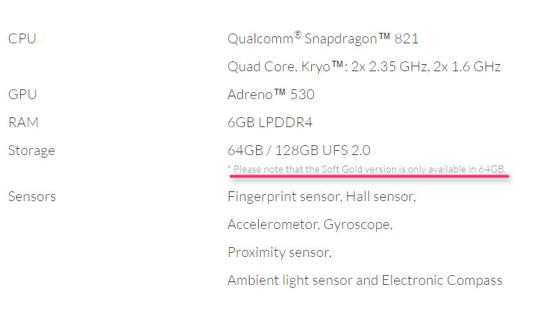 OnePlus 3T の仕様表