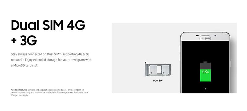 Samsung Galaxy A9 Pro(シンガポール版)は4G+3Gの同時待ち受けに対応
