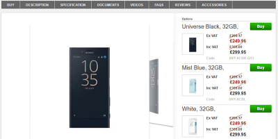 Clove Sony Xperia X Compact 商品ページ