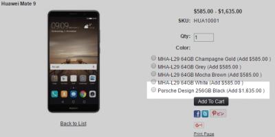 1ShopMobile.com Huawei Mate 9 PORSCHE Design 商品ページ