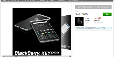 Clove BlackBerry KEYone 商品ページ