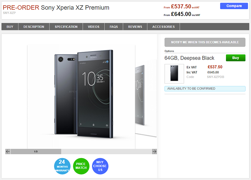 Clove Sony Xperia XZ Premium 商品ページ