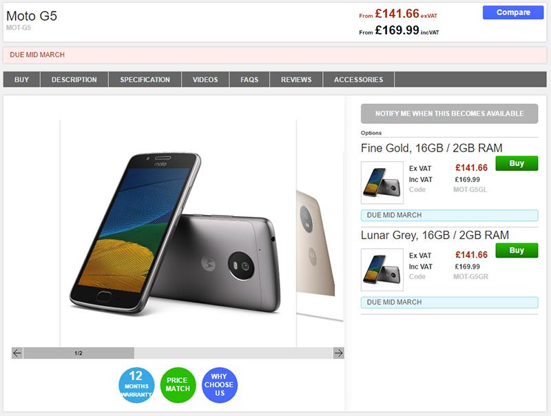 Clove Motorola Moto G5 商品ページ