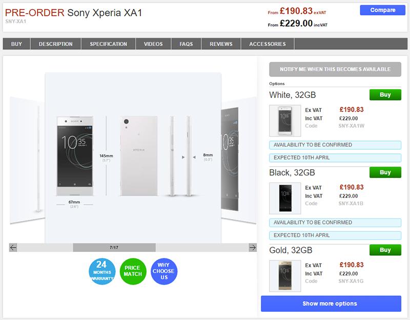 Clove Sony Xperia XA1 商品ページ