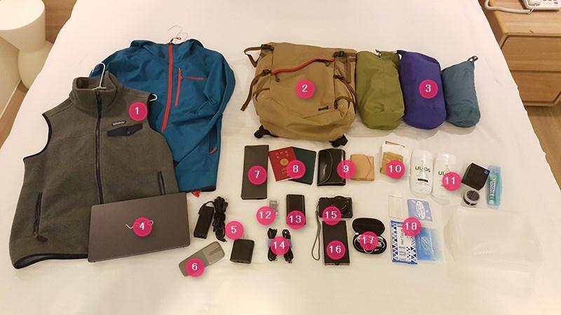 台湾旅行の荷物と宿泊先