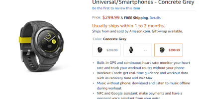 Amazon.com Huawei Watch 2 商品ページ