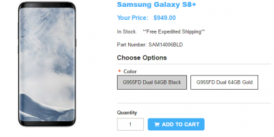 1ShopMobile.com Samsung Galaxy S8+ 商品ページ