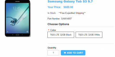 1ShopMobile.com Samsung Galaxy Tab S3 9.7 商品ページ