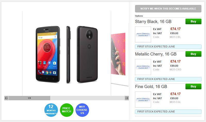 Clove Motorola Moto C 商品ページ