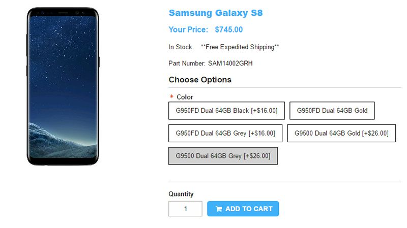 1ShopMobile.com Samsung Galaxy S8 商品ページ