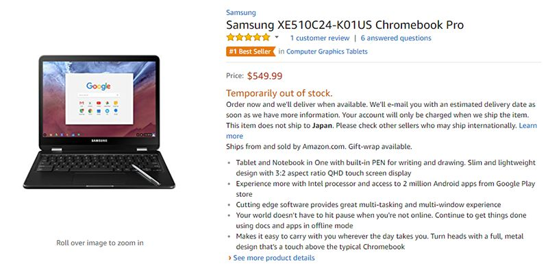 Amazon.com Samsung Chromebook Pro 商品ページ