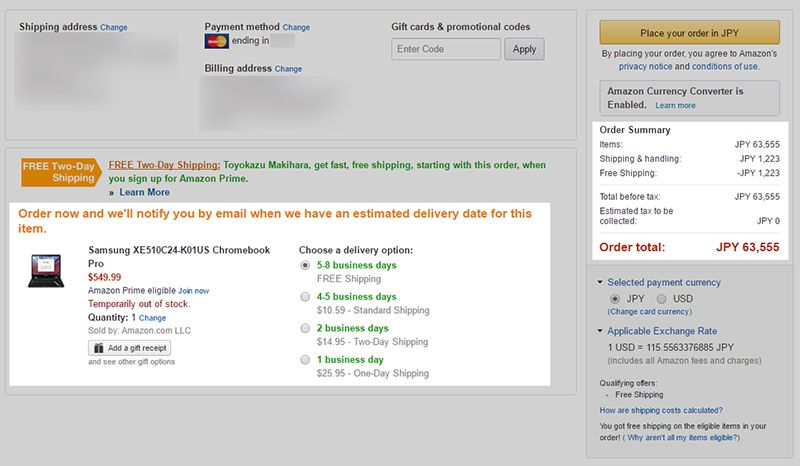 Amazon.com Samsung Chromebook Pro 購入費用