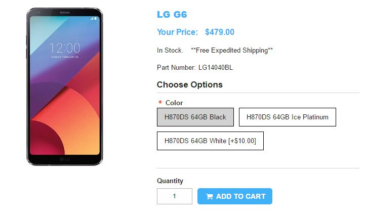 1ShopMobile.com LG G6 商品ページ