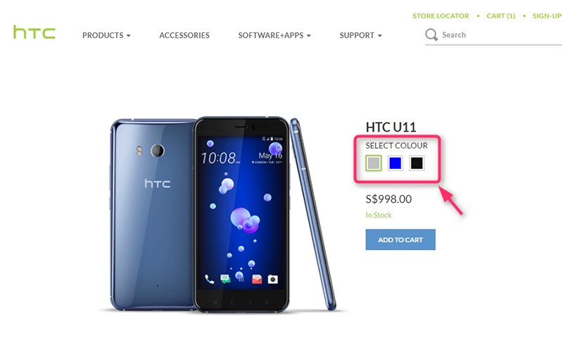 HTC SingaporeオンラインストアのHTC U11商品ページ