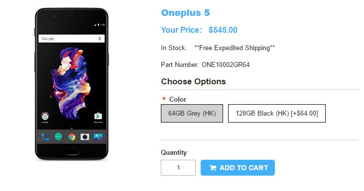 1ShopMobile.com OnePlus 5 商品ページ