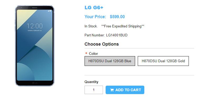 1ShopMobile.com LG G6+ 商品ページ