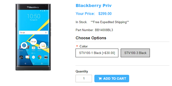 1ShopMobile.com BlackBerry PRIV 商品ページ