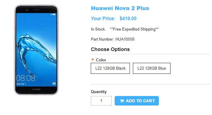 1ShopMobile.com Huawei nova 2 Plus 商品ページ