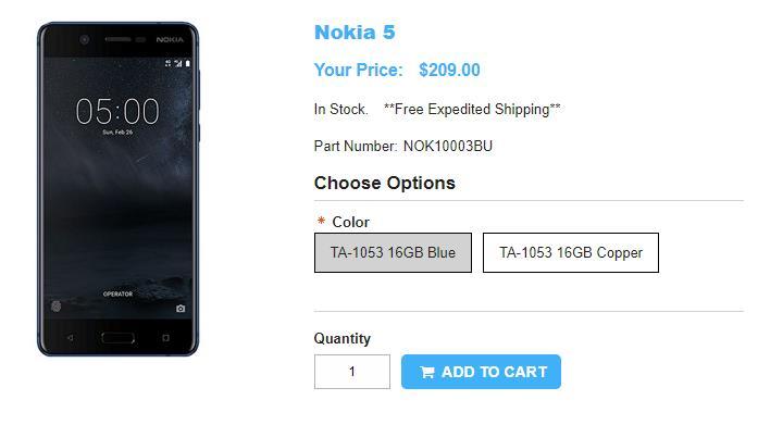 1ShopMobile.com Nokia 5 商品ページ