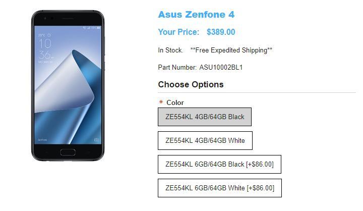 1ShopMobile.com ASUS ZenFone 4 商品ページ