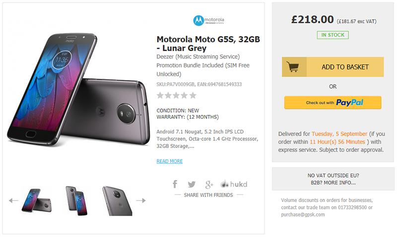 Handtec Motorola Moto G5S 商品ページ