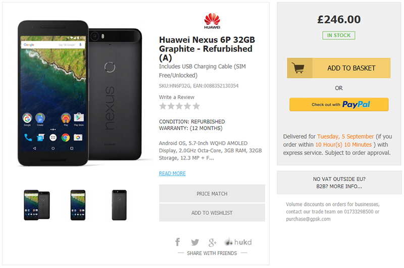 Handtec Google Nexus 6P 商品ページ