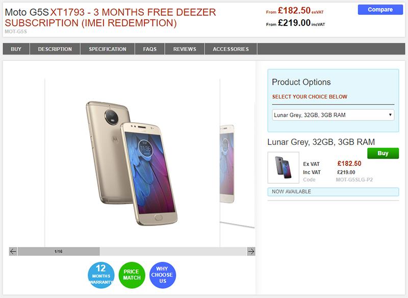Clove Motorola Moto G5S 商品ページ