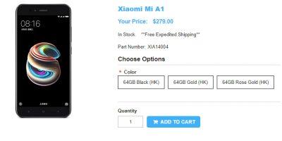 1ShopMobile.com Xioami A1 商品ページ