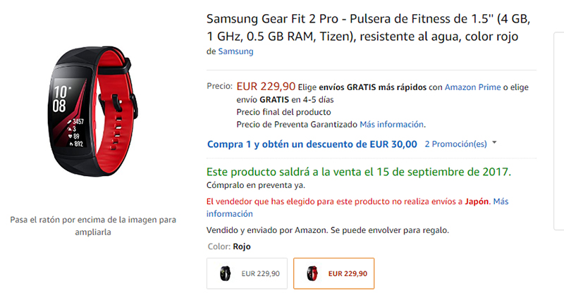 Amazon.es Samsung Gear Fit2 Pro 商品ページ