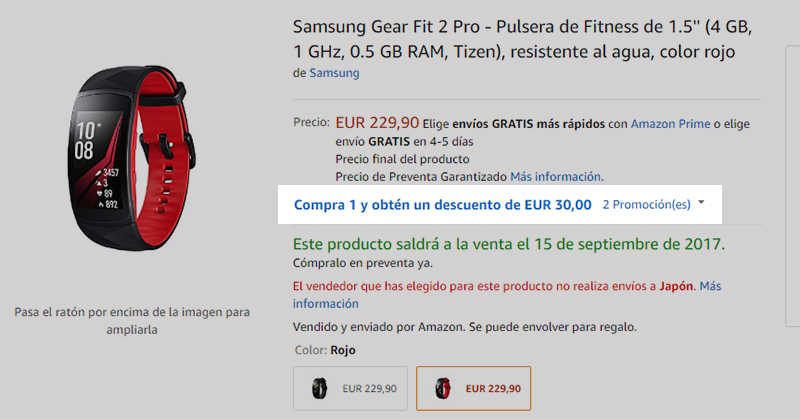 Amazon.es Samsung Gear Fit 2 Pro 商品ページ