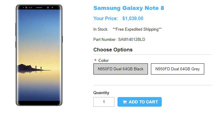 1ShopMobile.com Samsung Galaxy Note8 商品ページ