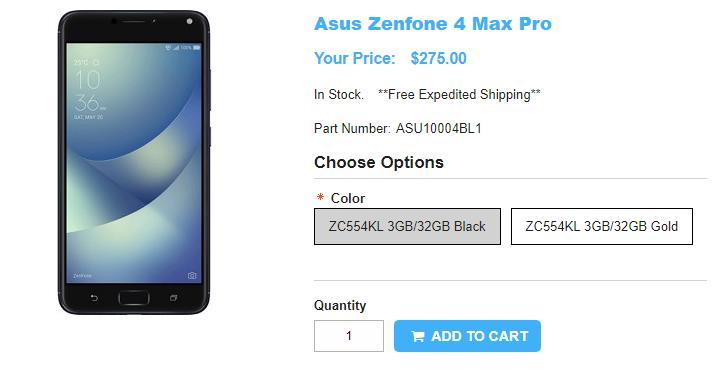 1ShopMobile.com ASUS ZenFone 4 Max Pro 商品ページ