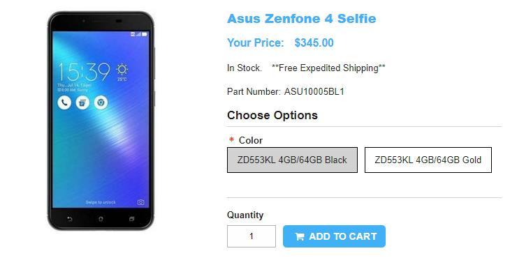 1ShopMobile.com ASUS ZenFone 4 Selfie 商品ページ