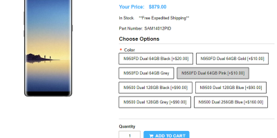 1ShopMobile.com Samsung Galaxy Note8 商品ページ