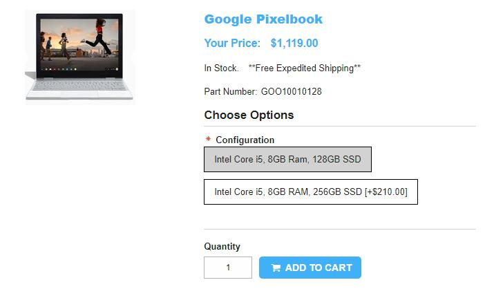 1ShopMobile.com Google Pixelbook 商品ページ