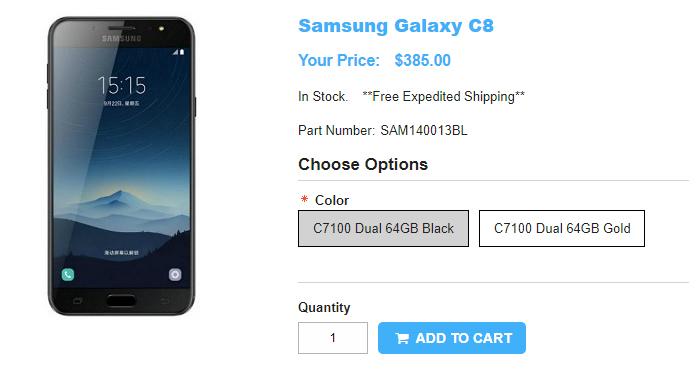 1ShopMobile.com Samsung Galaxy C8 商品ページ